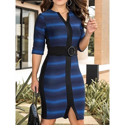 Above Knee Patchwork Half-Sleeve Women's Bodycon Dress