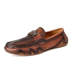 Shoespie Leather Crocodile Pattern Men's Loafers