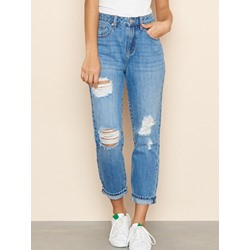 Plain Hole Straight Slim Women's Jeans