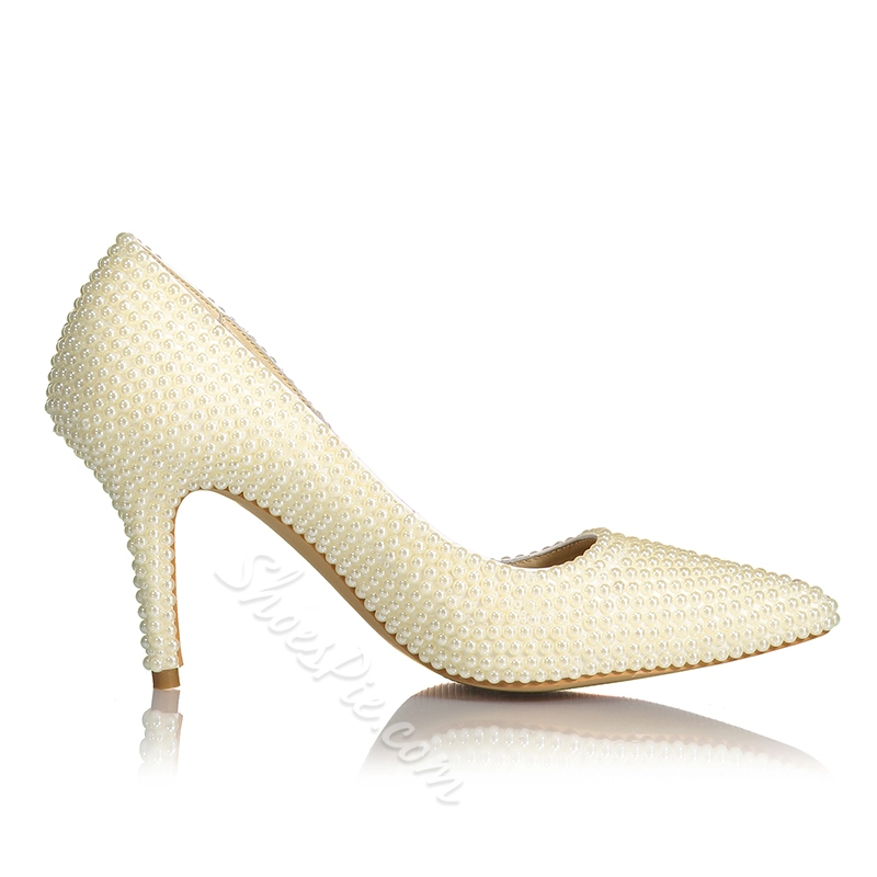 Shoespie Beaded Beige Pointed Toe Stiletto Heels