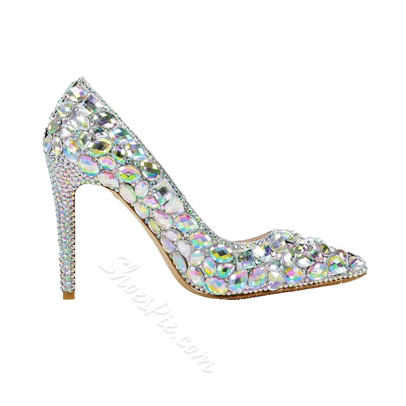 Shoespie Pointed Toe Rhinestone Prom Stiletto Heels