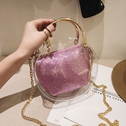 Shoespie PVC Plain Sequins Circular Crossbody Bags