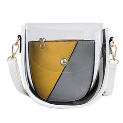 Shoespie ABS Plastic Color Block Saddle Shoulder Bags