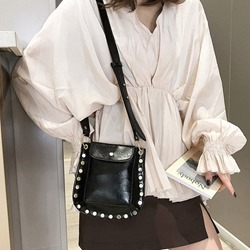 Shoespie Rivet PU Plain Shoulder Bags