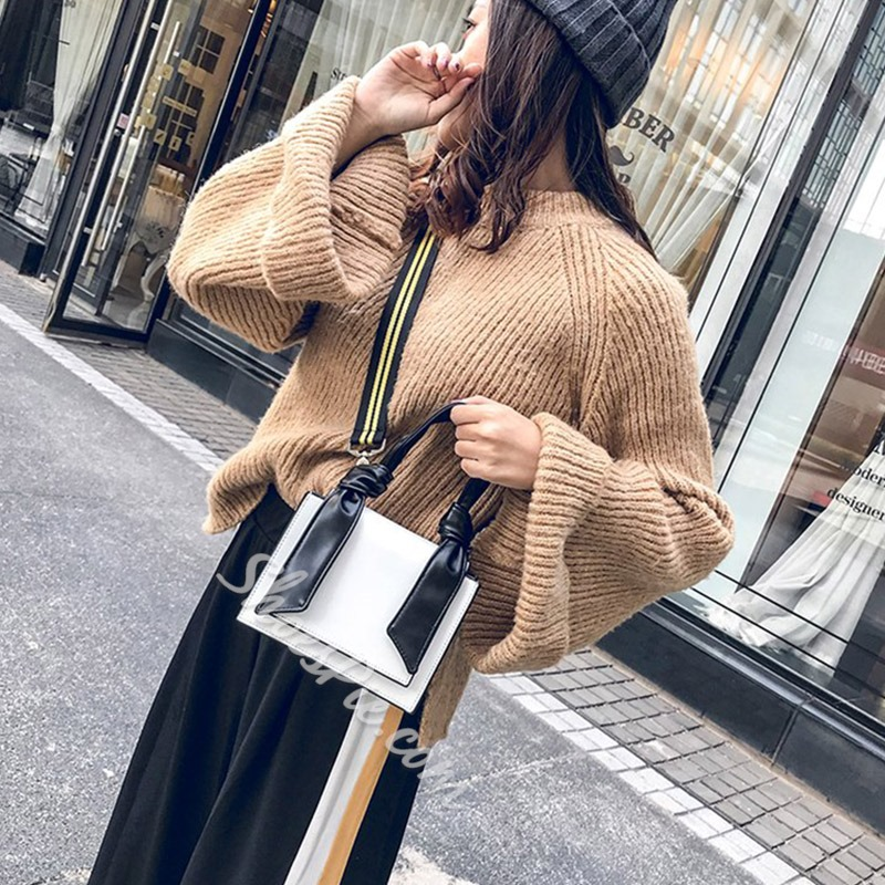 Shoespie Thread PU Square Tote Bags