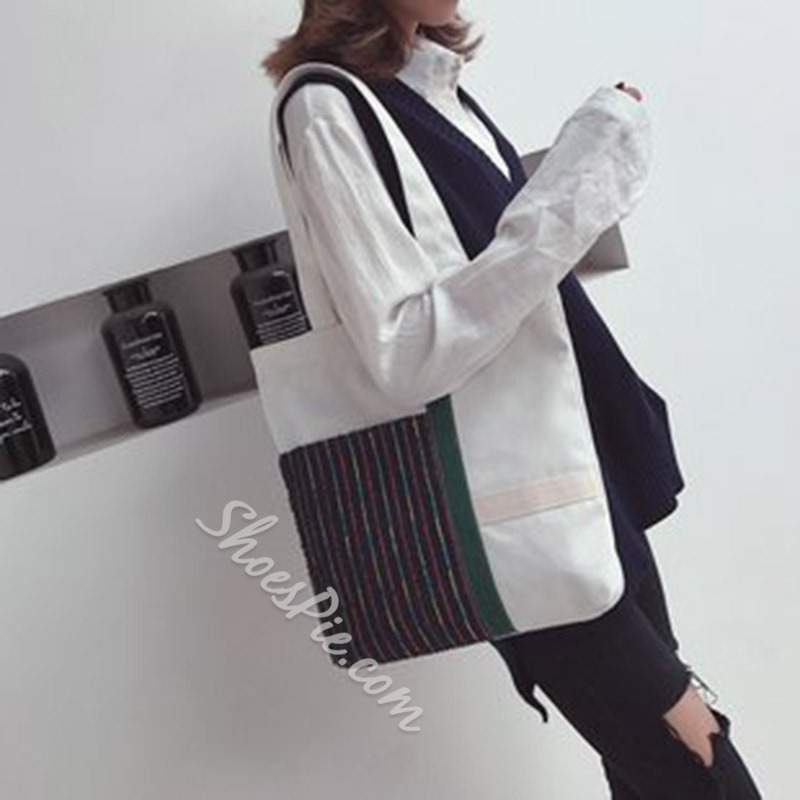 Shoespie Canvas Patchwork Rectangle Shoulder Bags