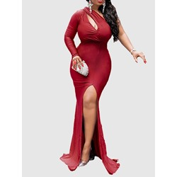 Floor-Length Long Sleeve One-Shoulder Women's Maxi Dress