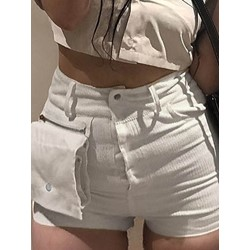 Plain Zipper Skinny Women's Shorts