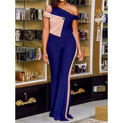Patchwork Office Lady Full Length Loose Women's Jumpsuit