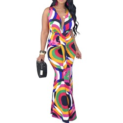 Floor-Length Sleeveless V-Neck Women's Maxi Dress