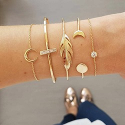 Golden Color Leaf Shape E-Plating Bracelets