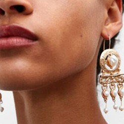 Pearl Inlaid Court Style Lady Drop Earrings