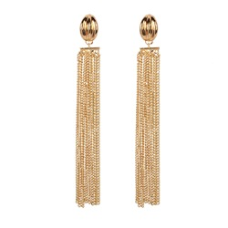 Golden Color Tassel Alloy Statement Earrings