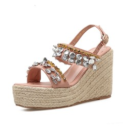Shoespie Solid Buckle Strap Beaded Wedge Heel Sandals