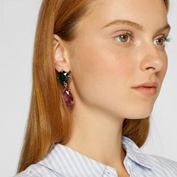 Water Drop Shape Color Block Gem Alloy Pierced Earrings