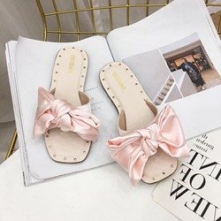 Shoespie Bowknot Open Toe Flat Slippers