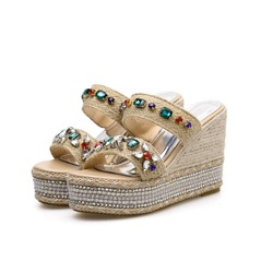 Shoespie Wedge Heel Rhinestone Slippers