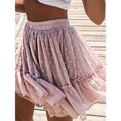 Lace-Up Mini Skirt Polka Dots Western Women's Skirt
