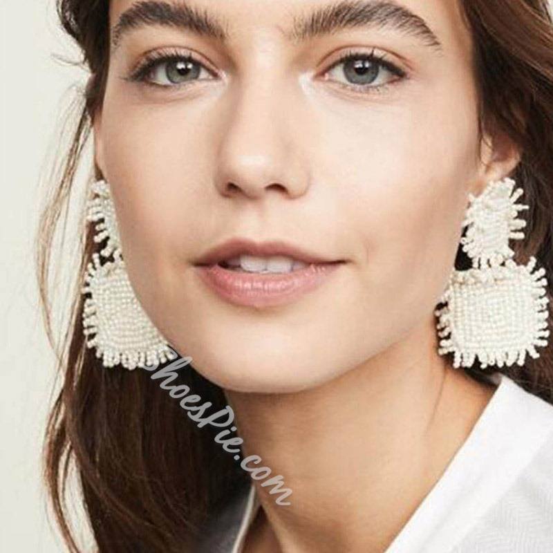 Plain Round Beading Bohemian Party Earrings