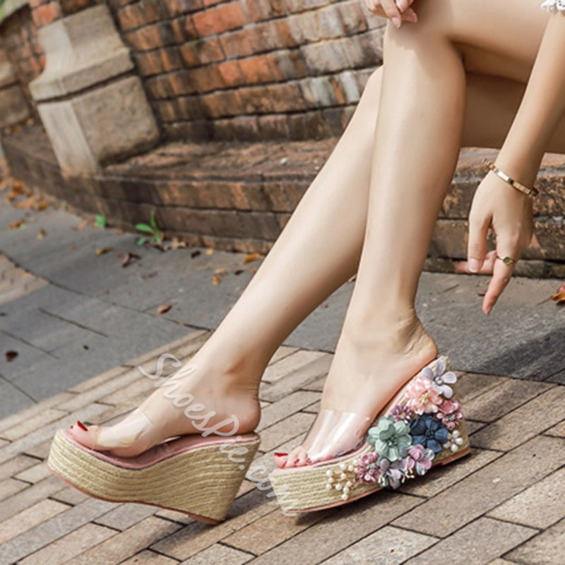 Shoespie Wedge Heel Flower Clear Casual Slippers