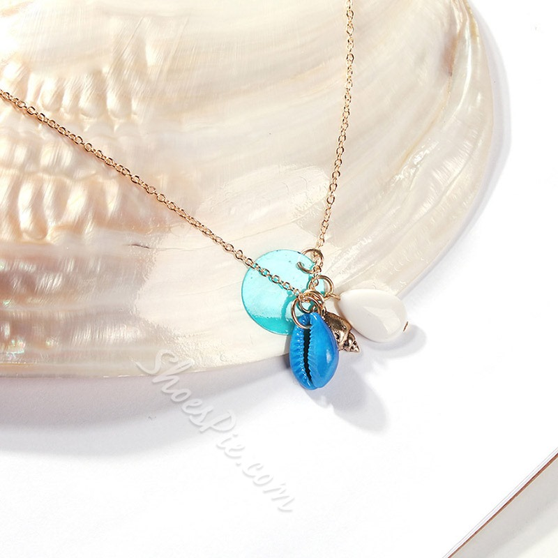 Color Block Resin Pendant Necklace for Women