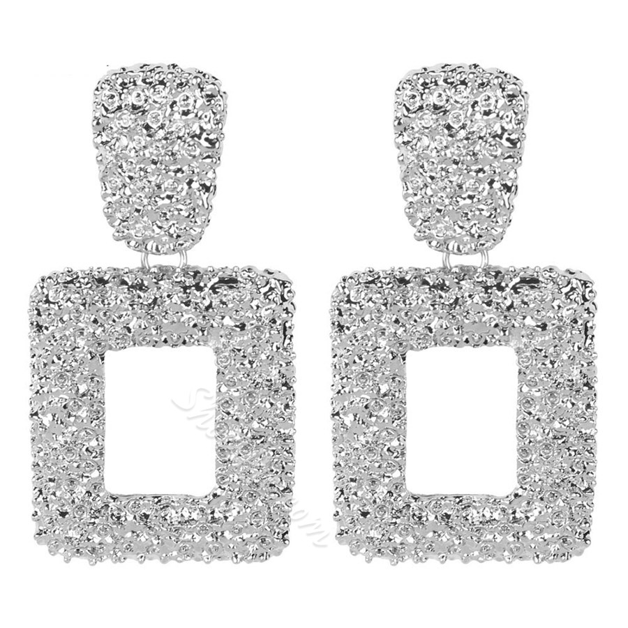 Vintage Metal Square Drop Earrings For Women