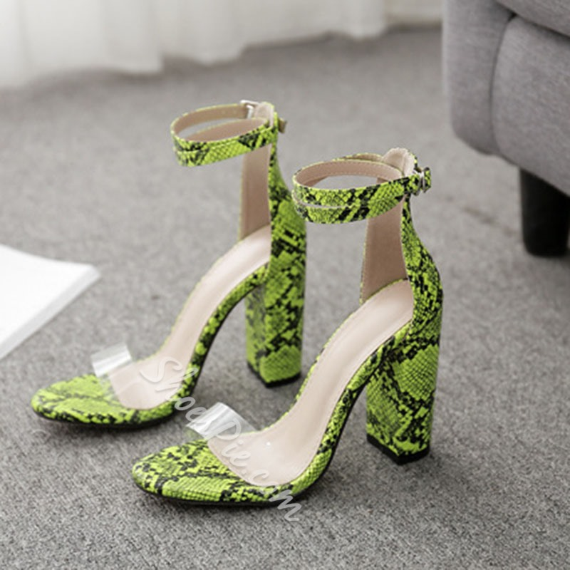 Shoespie Chunky Heel Solid Buckle Strap Sandals