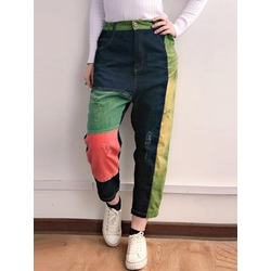 Color Block Patchwork Loose Women's Jeans