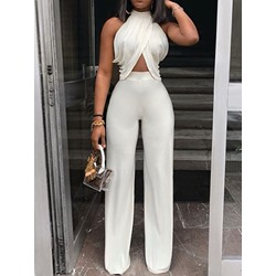 Date Night Patchwork Plain Slim Women's Jumpsuit
