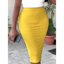 Knee-Length Plain Bodycon Office Lady Women's Skirt