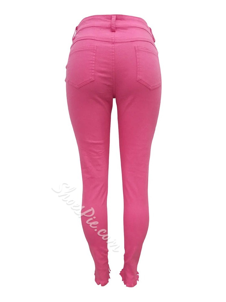 Plain Button Pencil Pants Zipper Women's Jeans