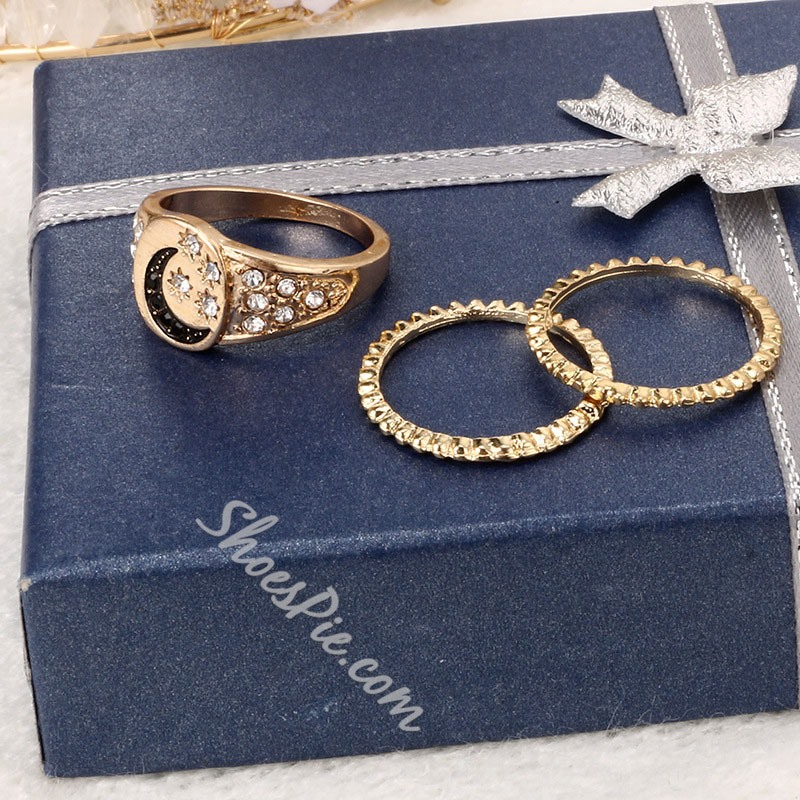 3 Pcs Set Star Shape Diamante Ring For Women