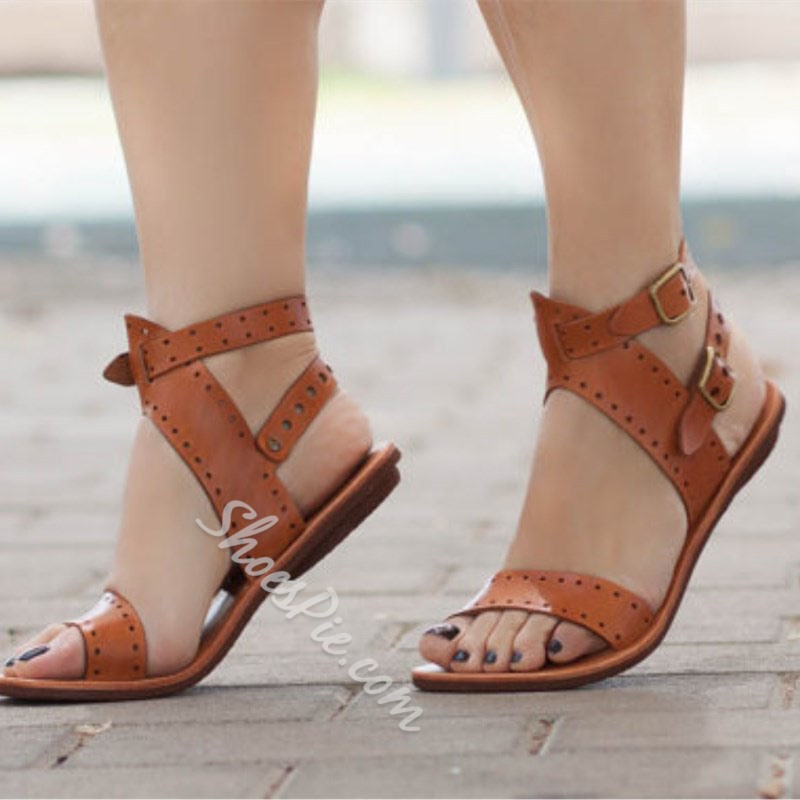 Shoespie Ankle Strap Flat Open Toe Casual Sandals