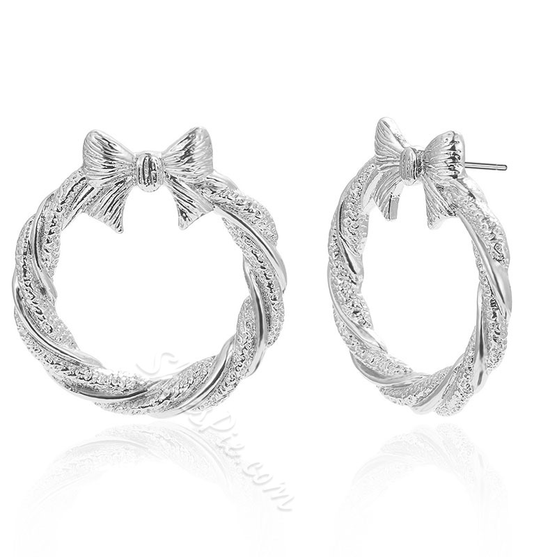 European Alloy Bowknot Anniversary Earrings