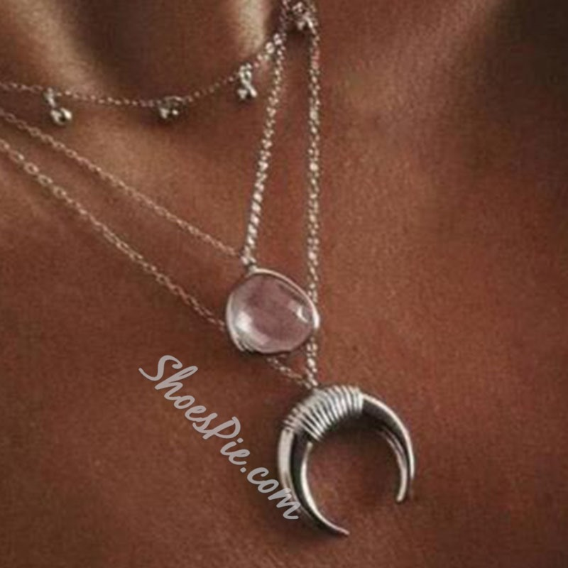 Moon Shape E-Plating Silver Layered Necklace