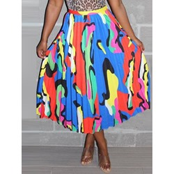 Color Block Print Pleated Western Women's Skirt
