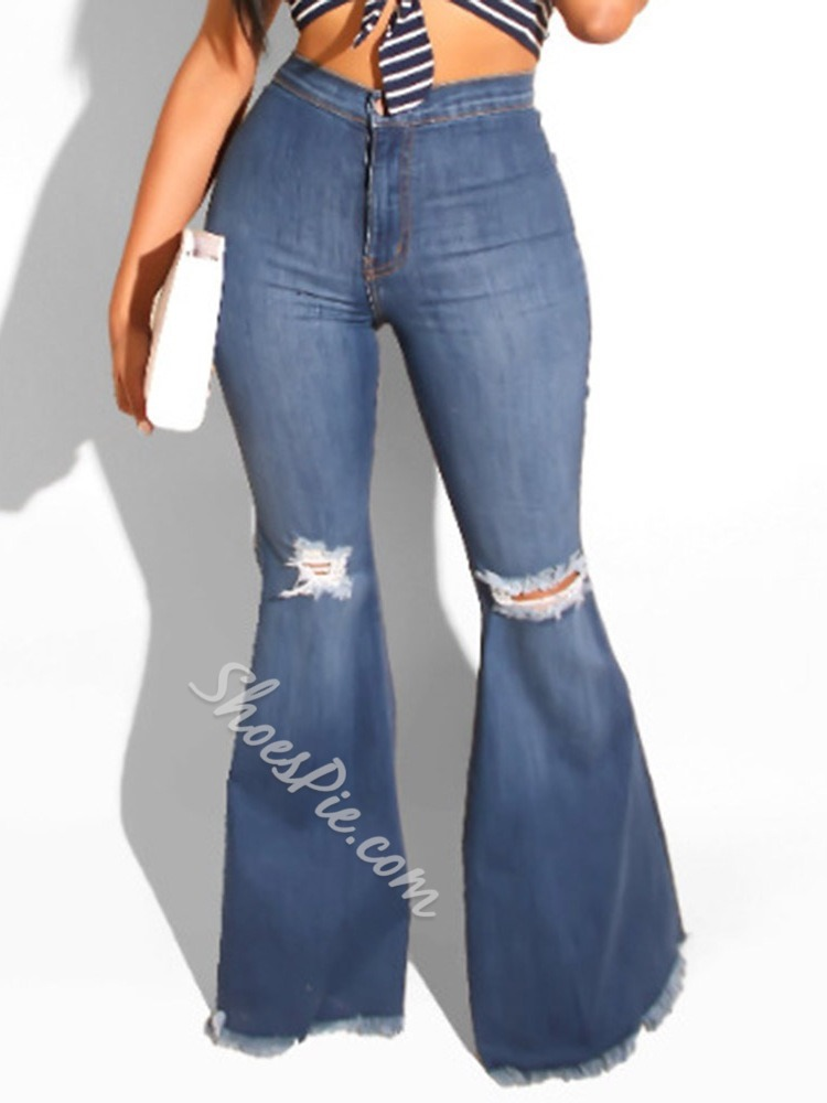 Bellbottoms Hole Plain Slim Women's Jeans