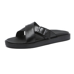 Shoespie Buckle Black Men's Summer Slippers