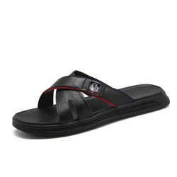 Shoespie Hollow Simple Summer Black Men's Slippers