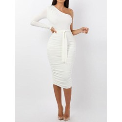 Mid-Calf Long Sleeve Pleated Women's Bodycon Dress