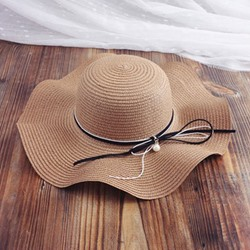Bowknot Shape Wave Cut Straw Plaited Article Sun Hat
