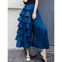 Ankle-Length Plain Expansion High Waist Women's Skirt