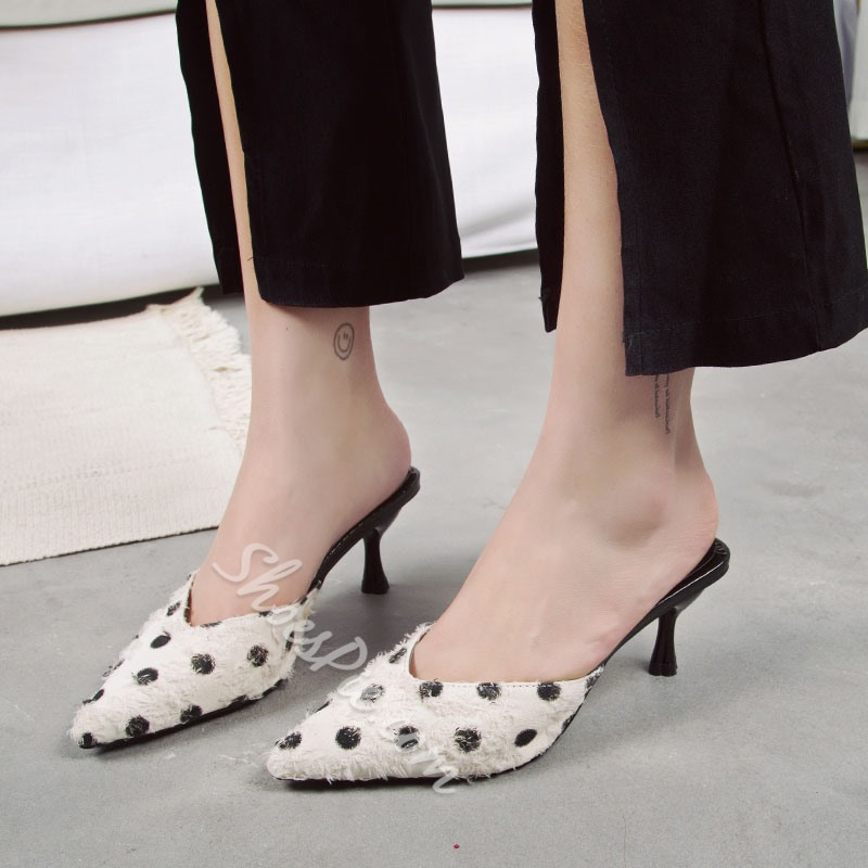 Shoespie Closed Toe Kitten Heel Mules