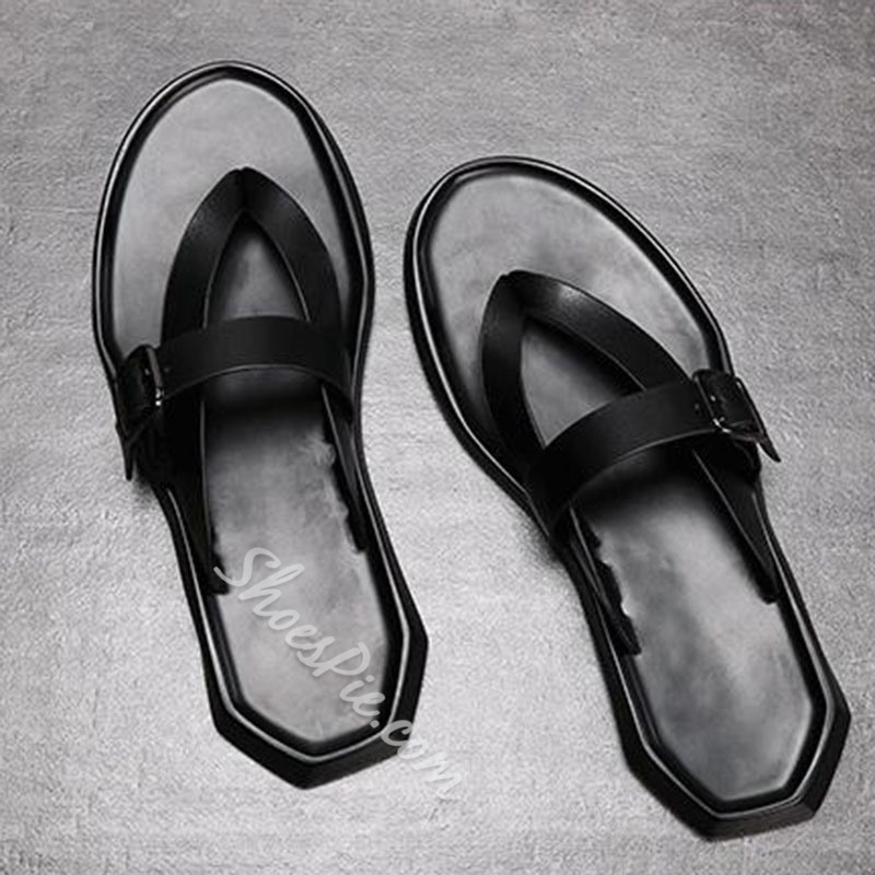 Shoespie Buckle Simple Plain Men's Slippers