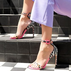 Shoespie Zebra Stiletto Heel Buckle Sandals