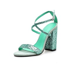 Shoespie Green Buckle Chunky Heel Sandals