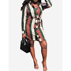 Above Knee Lace-Up Lapel Women's Casual Dress