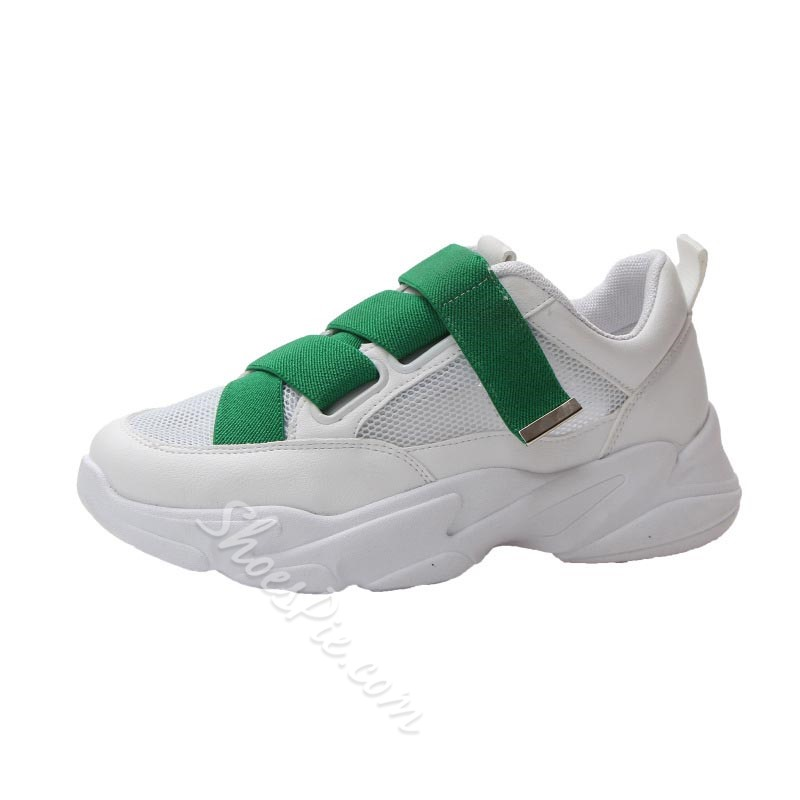 Shoespie White Casual PU Chunky Sneakers