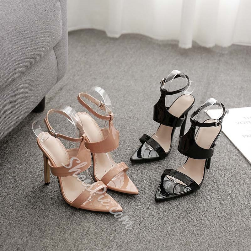 Shoespie Stiletto Heel Open Toe Buckle Sandals