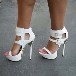 Shoespie Buckle Zipper High Heel Open Toe Sandals